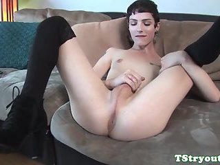 Beautiful auditioning tgril solo rubbing cock