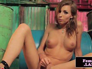 Solo femboy beauty Sienna Grace rubbing cock