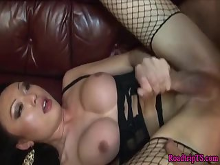 Beautiful tgirl banged in stockings