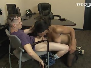 Office anal sex and brutal blowjob