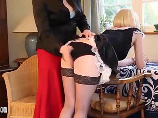 Naughty Blonde TGirl Maid Has Tight Ass Spanked As Kinky Smoking Punishment
