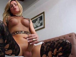 Big dick TS preparing to cum