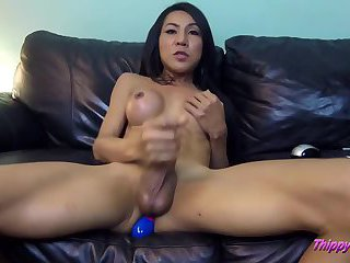 Ladyboys ass gets toy