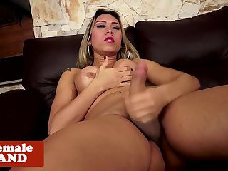 Bigtitted latina tgirl in teases in lingerie