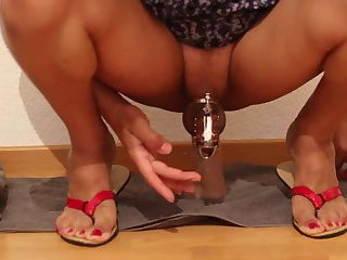 Anal Dilation With Dildo and Cock Cage,A Bit Of Precum