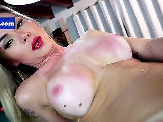 Brazilian tgirl beauty jerking her dick off