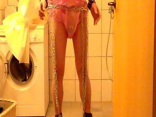 Sissy Sarah Pissing in her PVC Panties