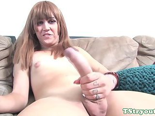 Amateur tgirl jerking her bigcock at casting