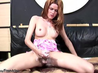 Latina tbabe lotions up her hard shecock for closeup action