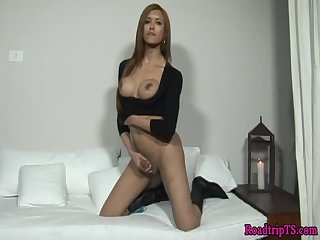Trans babe enjoys solo masturbation