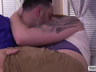 Tattoed TS Aspen fucks in missionary