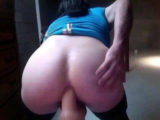 Sissy takes big dildo