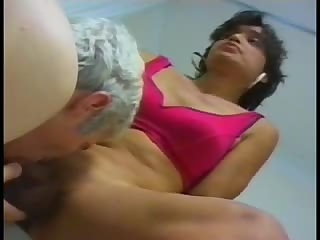 Old guy sucks off a latina cock