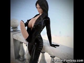 3D Big Dicked Futanari Lesbians