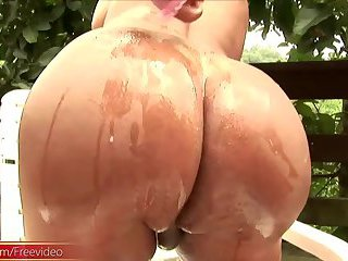 Big ass tranny whips out thick ladystick and strokes it hard