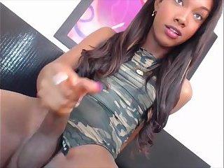 Playful ebony tgirl