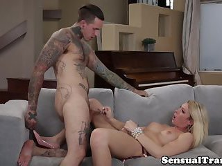 Busty trans rides cock slowly before cumming
