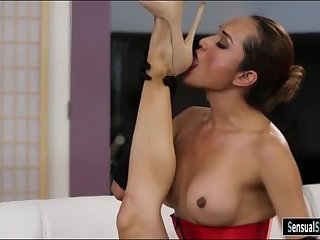 Sultry shemale fucks horny milf on sofa