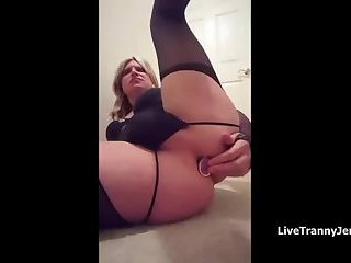 Sissy plays with her plug and her limp sissy clit