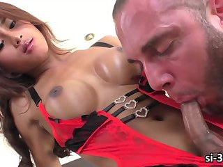 Super femme ladyboy stunner butt drilled and jizz bombed