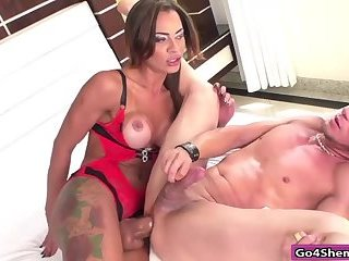Big cock shemale Keyla Marques anals guy & rides on his cock