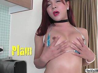 Petite Thai Ladyboy Plam appreaciates masturbation