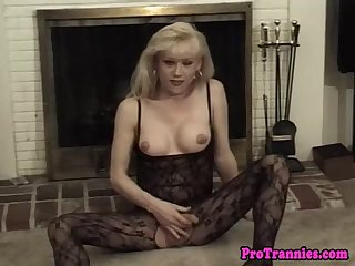 Lingerie loving tranny gets her cock sucked