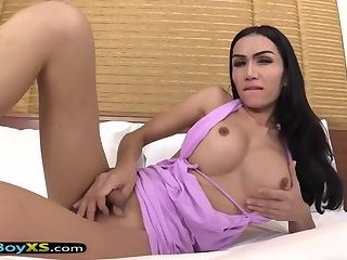 Ladyboys dick gets hard just thinking about a fuck
