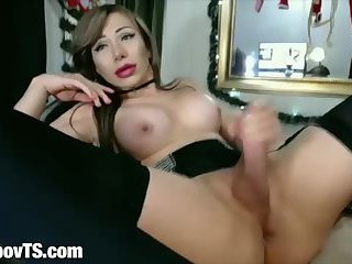Big ass latina shemale dildo in ass jerking on cam
