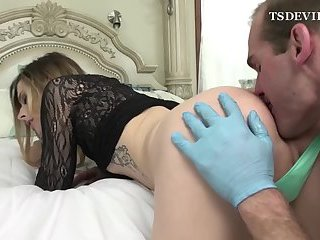 Gloves sex and bareback with a big tits shemale