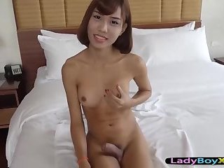 Slim figure ladyboy gets bareback fucked