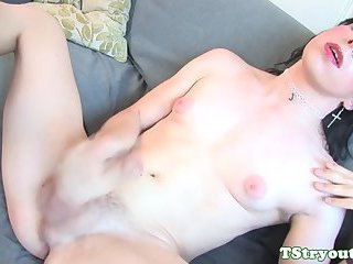 Bigass shemale wanking cock at casting