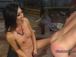 Tranny spanks and anal fucks cowboy