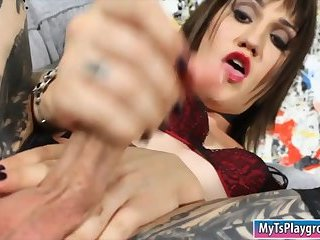 Shemale fucking ass with a big sextoy