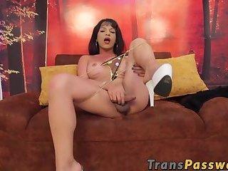 Slutty latina tranny wanking her dick