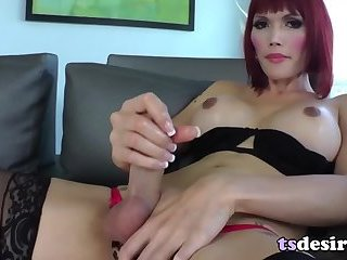 Asian Tranny Eva Lin Stuffs Toys Into Her Butt