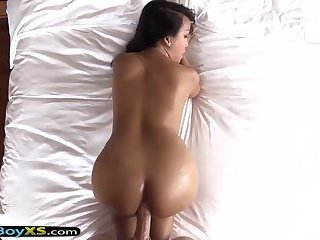 Asian ladyboy with perfect body gets fucked bareback