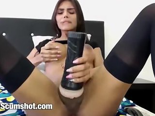 Beautiful latina Shemale big tits jerking her cock with toy