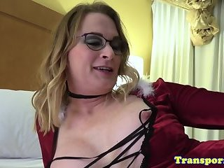 Spex tranny with bigtits masturbating slowly