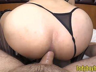 Big boobs ladyboy gets her anal screwed