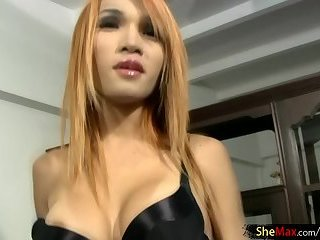 Teen ladyboy poses in black lingerie and exposes huge boobs