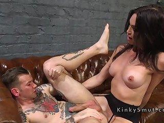 Shemale widow in lingerie anal fucks guy