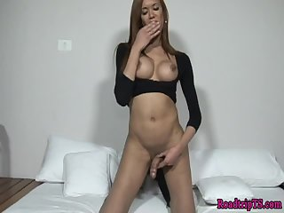 Latina shemale jerking her cock passionately