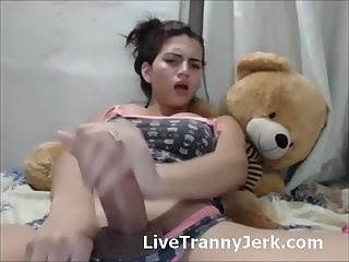 Cute Shemale Jerks Thick Cock