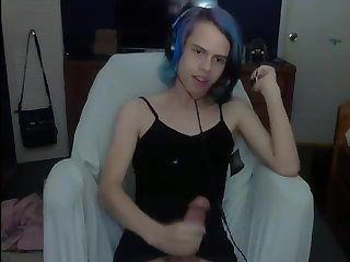 Blue Hair Femboy Cums
