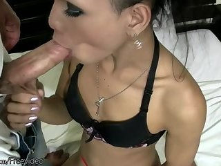 Teen Asian tranny strips to lingerie and handjobs Rafes cock