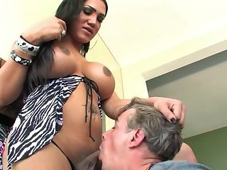 Big tits shemale gets pleased