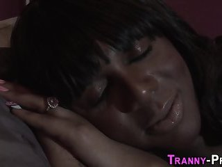 Busty ebony tranny facial