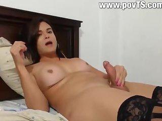 Beautiful brunette Tgirl masturbes her big cock cumshot