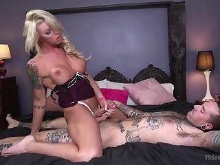 Sexy blonde fucks him good